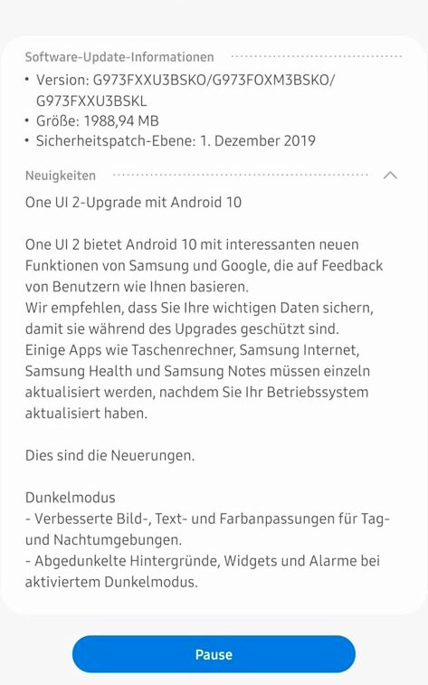 Samsung Galaxy S10 Android 10 version